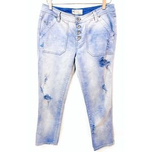 FREE PEOPLE DISTRESSED BUTTON-Fly Jeans size 6